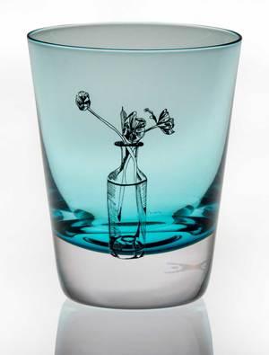 Handmade Crystal Turquoise Tulip Tumbler
