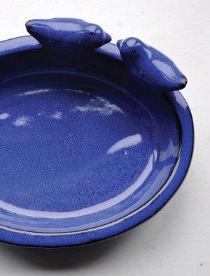 Oval Ceramic Bird Bath