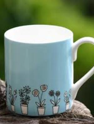 Blue Flower Pots Mug by Wiggles and Florence