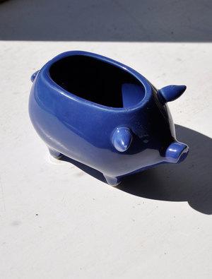 Ceramic Pig Pot Cobolt