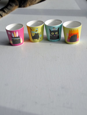 Four Cat Egg Cups by Jane Ormes