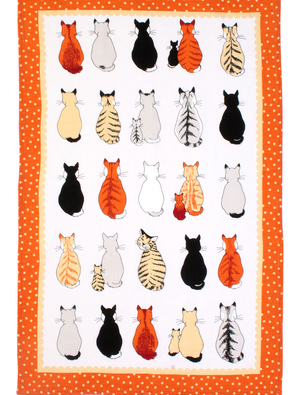 Cats in Waiting Tea Towel